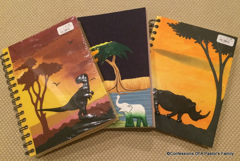 I bought these journals at the Alternative Gift Market at our church on Sunday. They're made from recycled paper in Sri Lanka.